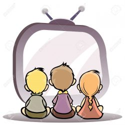 13787057-Vector-illustration-of-a-children-watching-tv-Stock-Photo